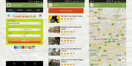 Some screenshots of the HostelsClub App