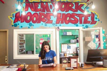 Many colors at NY Moore Hostel reception